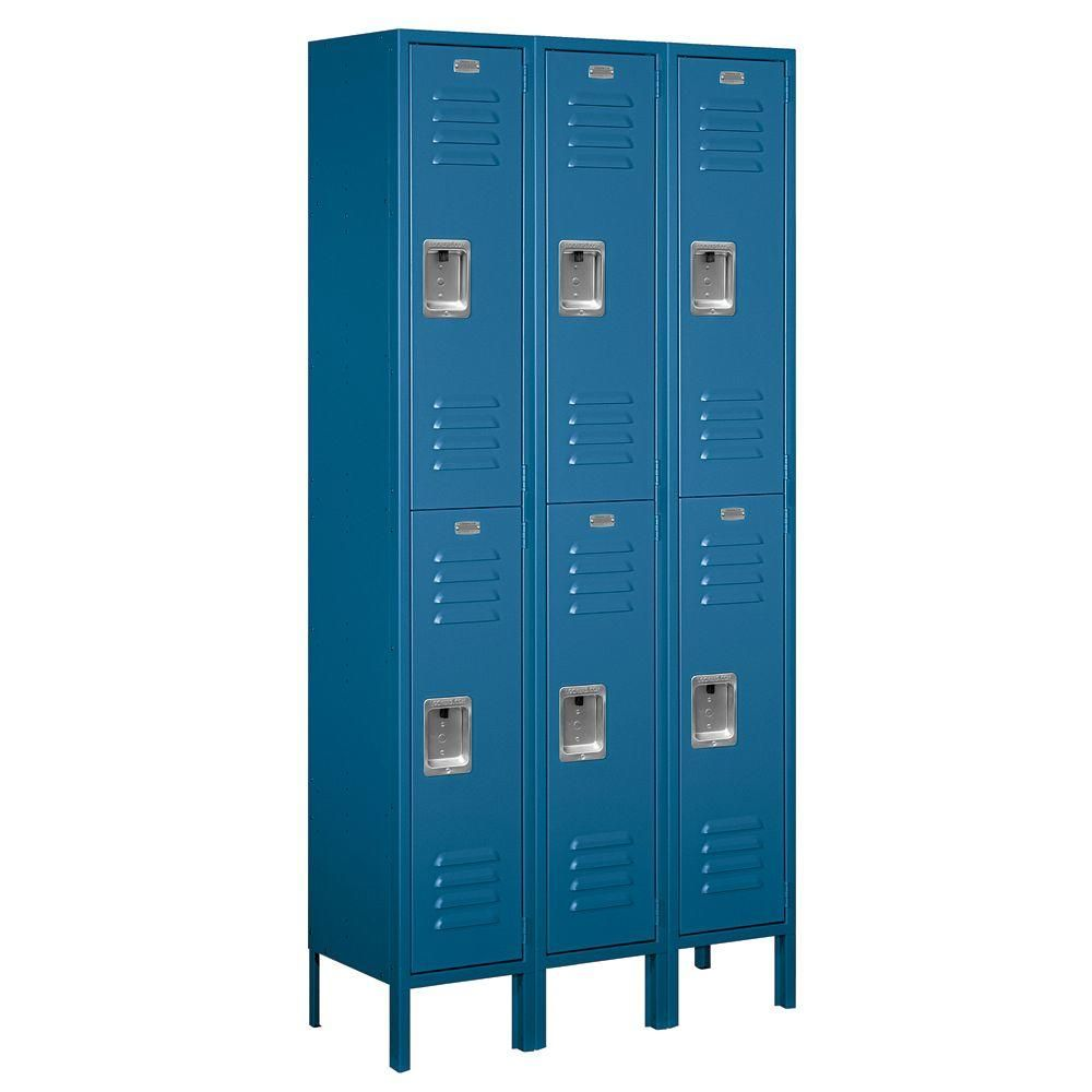 Salsbury Industries 62000 Series 36 In W X 78 In H X 12 In D 2 Tier Metal Locker Unassembled In Blue 62362bl U The Home Depot Metal Lockers Employee Lockers Salsbury Industries