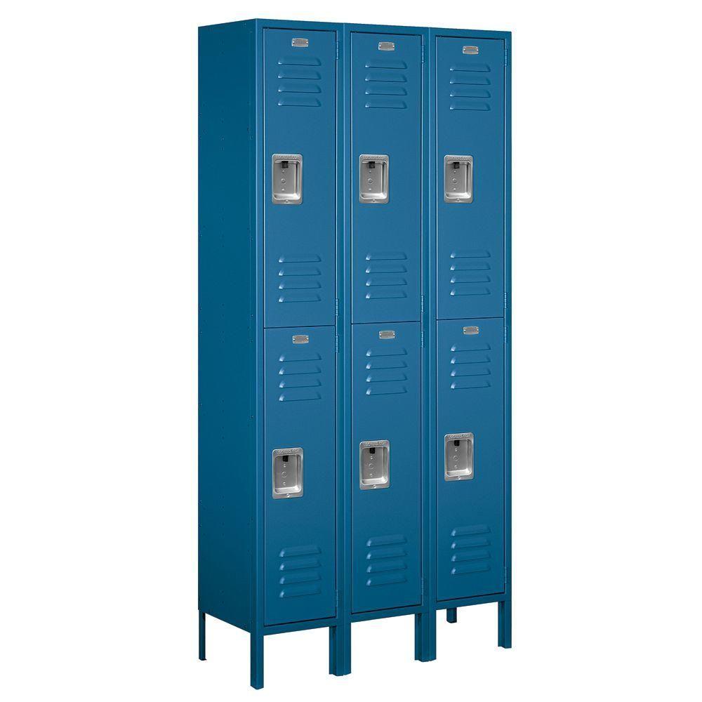 Salsbury Industries 62000 Series 36 In W X 78 In H X 12 In D 2 Tier Metal Locker Unassembled In Blue 62362bl U The Home Depot Metal Lockers Employee Lockers Salsbury Industries