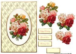 Cameo Vintage Flowers Card Front With Decoupage