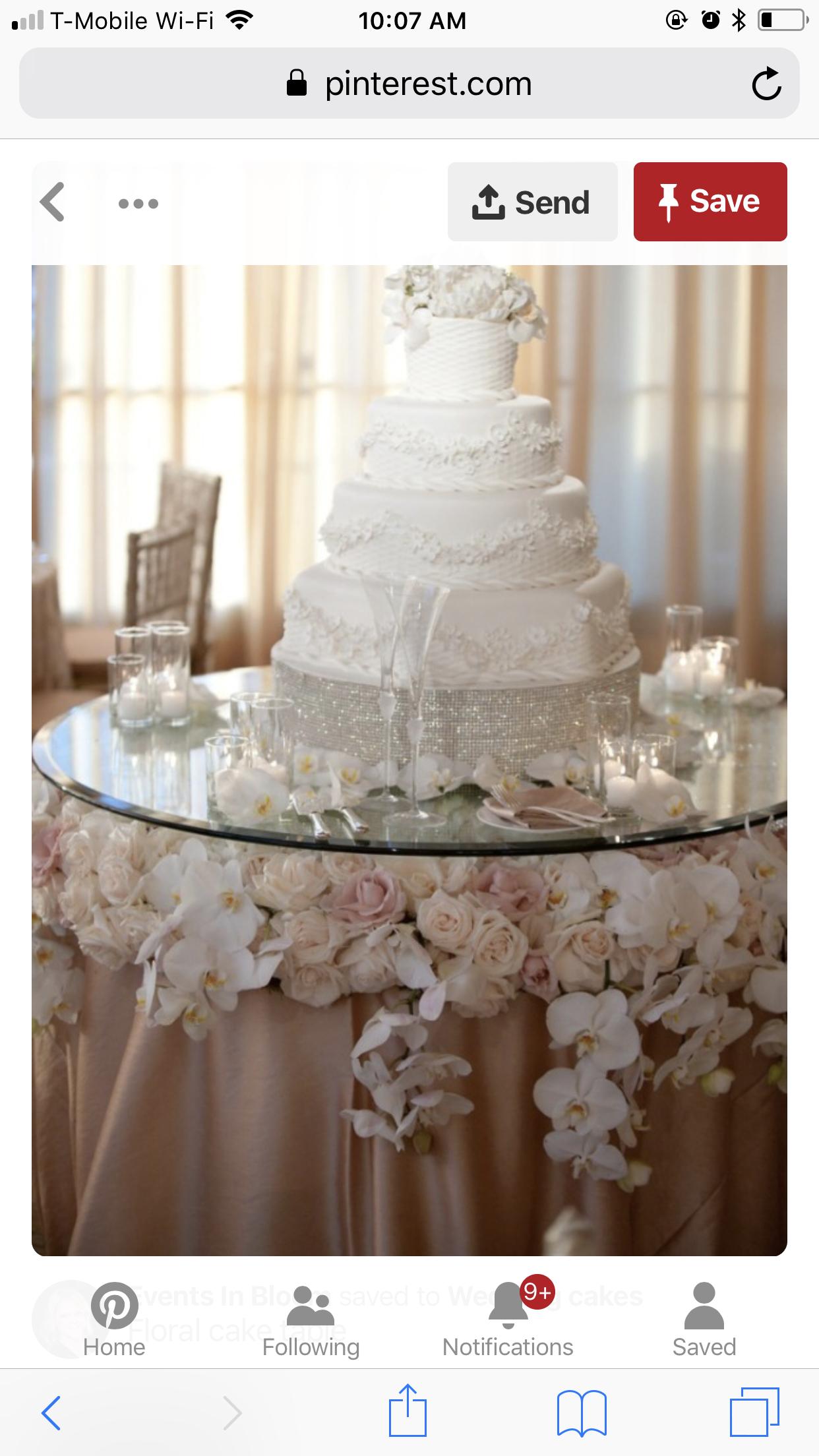 Flowers Underneath Glass Table Wedding Cake Table Party Decor Wedding Cake Table Decorations Wedding Cake Table Cake Table Decorations