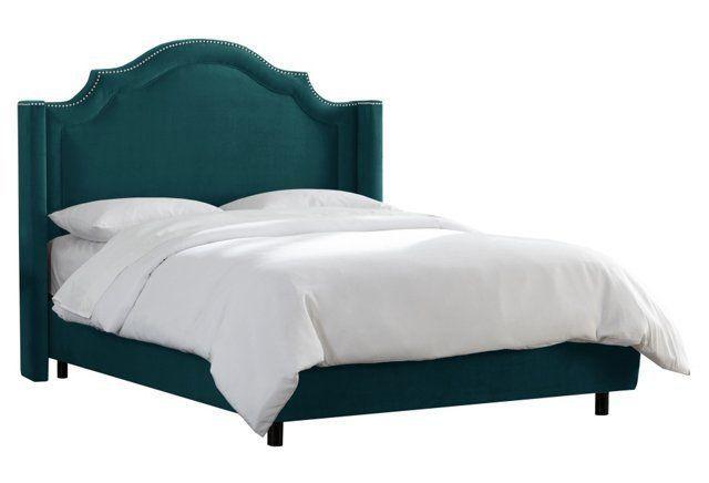 tory nail trim wingback bed peacock tete de lit lit a panneau