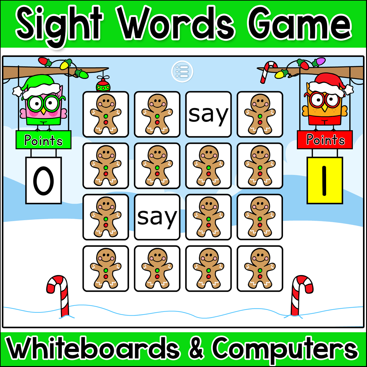Gingerbread Man Sight Words Memory