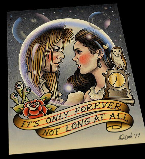 Jareth And Sarah The Labyrinth David Bowie Tattoo Flash Art Etsy Labyrinth Tattoo Bowie Tattoo Tattoo Flash Art