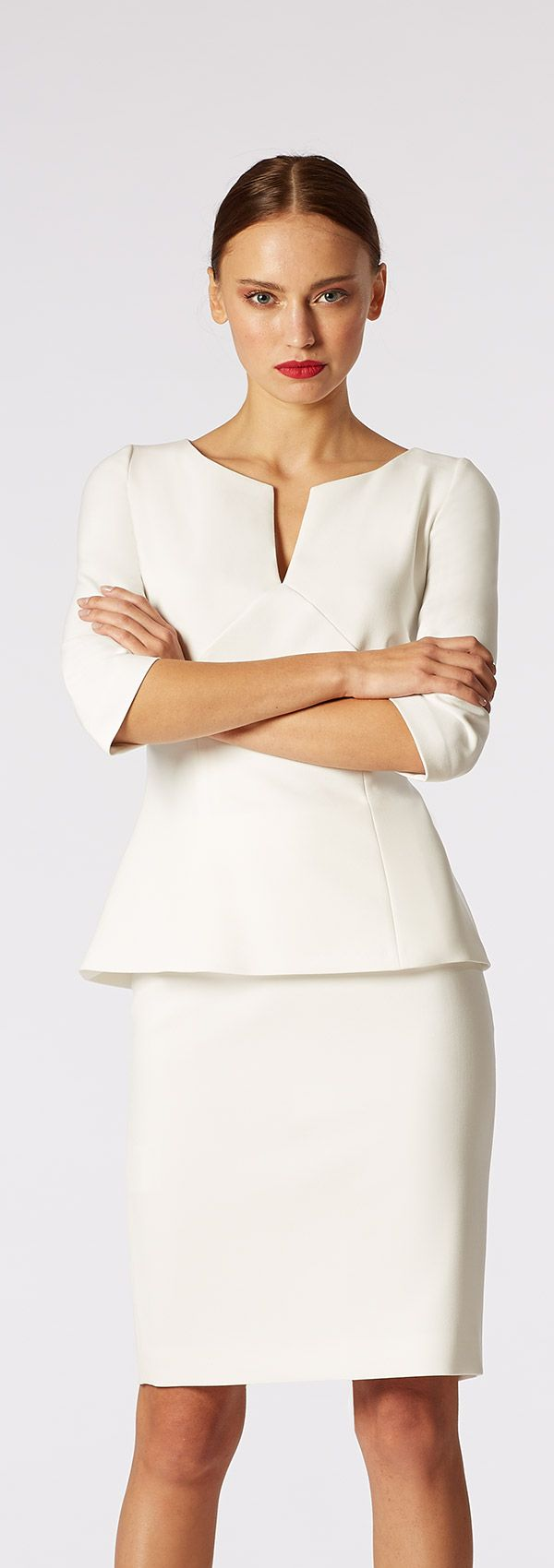 Popular White Women Suits With Black Dress 2013 Summer Work Wear Career Dress