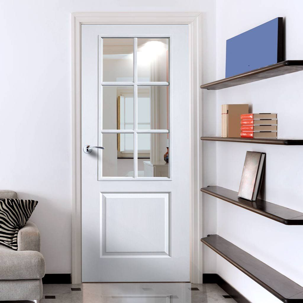 Jbk faro white primed door with clear safety glass doors safety jbk faro white primed door with clear safety glass planetlyrics Choice Image