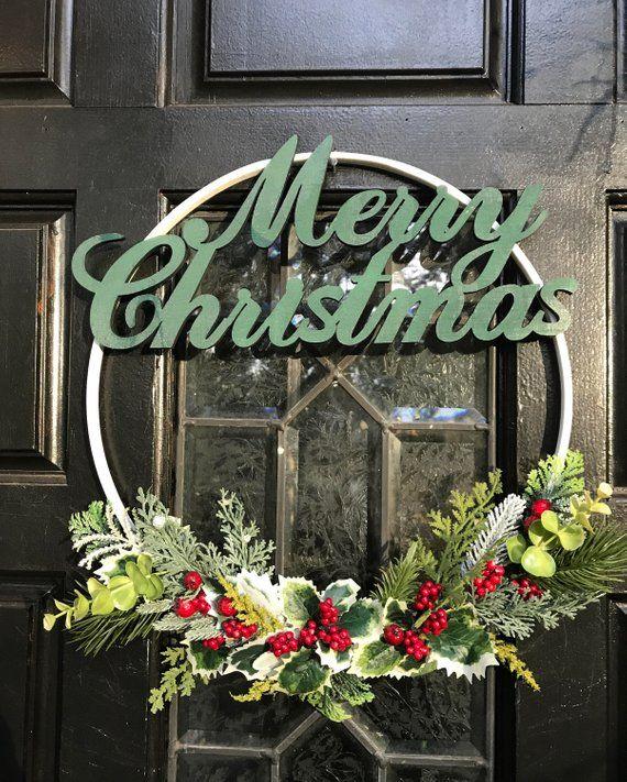 Photo of SALE* Holiday Wreath,Modern Christmas Wreath, Modern Wreath, Front Door Wreath, Minimalist wreath,Christmas Decor, Embroidery Hoop Wreath