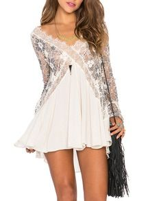 Long Sleeve Lace Pleated Tunic DressSuper Sweet! Beautiful Shift Silhouette. Lovely top!Very Sheer!PolyColor:Multi$32