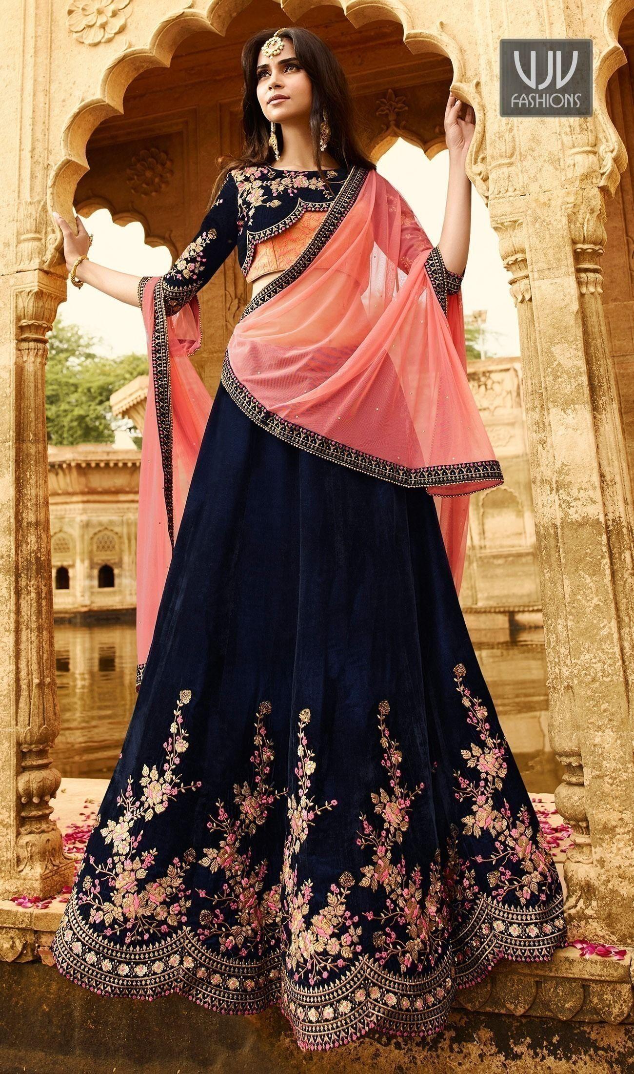 ccac8aeb67 Awesome Navy Blue Color Velvet Lehenga Choli | Designer Wedding ...