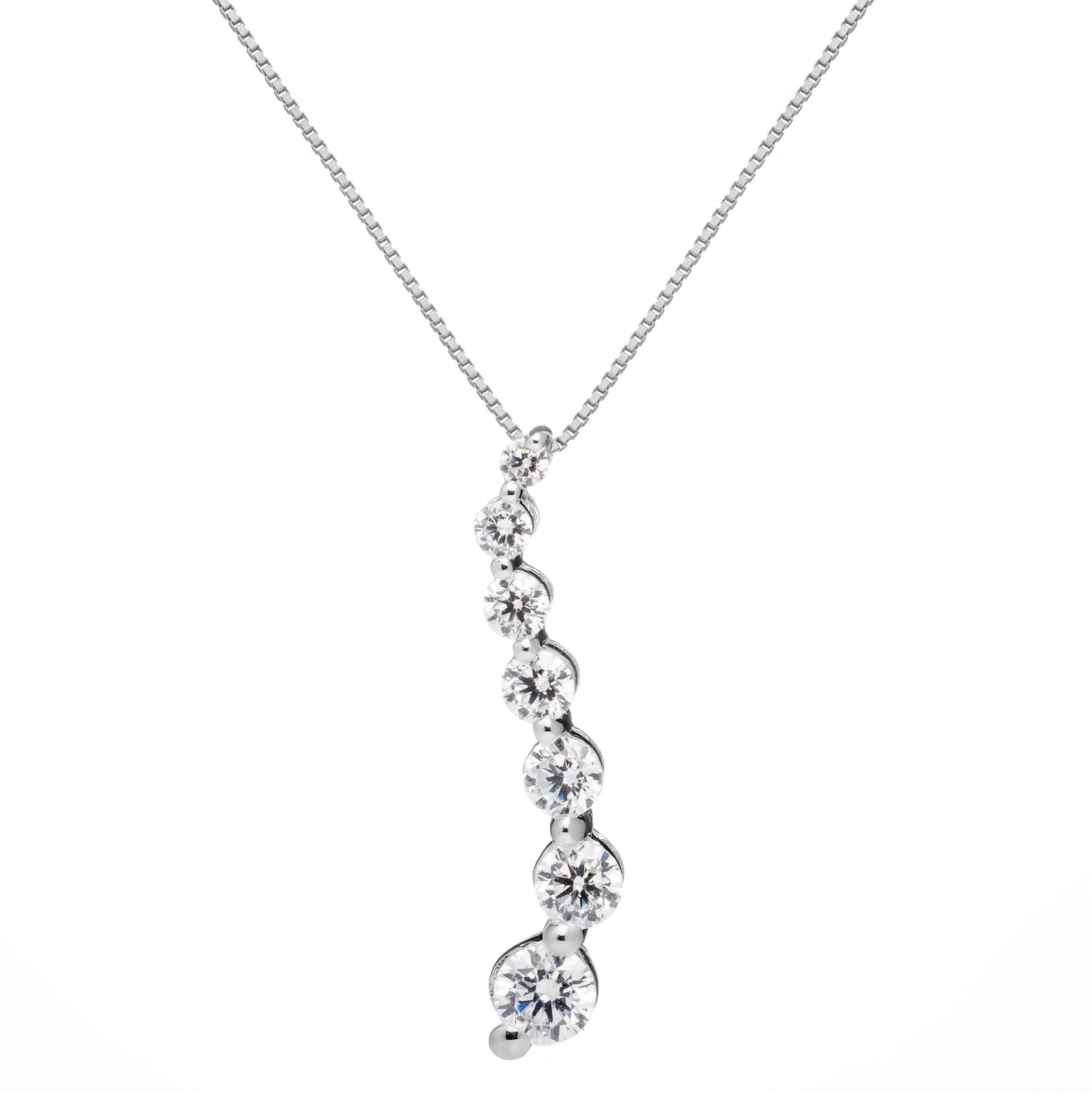 K solid white gold round cut cz journey stone pendant necklace