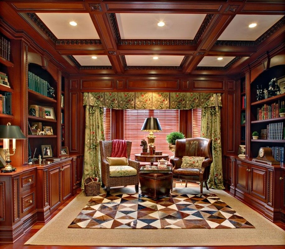 Marvelous Modern Home Library Design With Simple Lines And Elements : Medieval Home  Library Design Tiered Ceiling Part 25