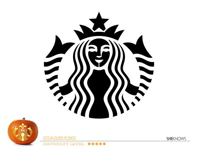 starbucks logo pumpkin carving template free printable coloring pages - Pumpkin Templates Free Printable