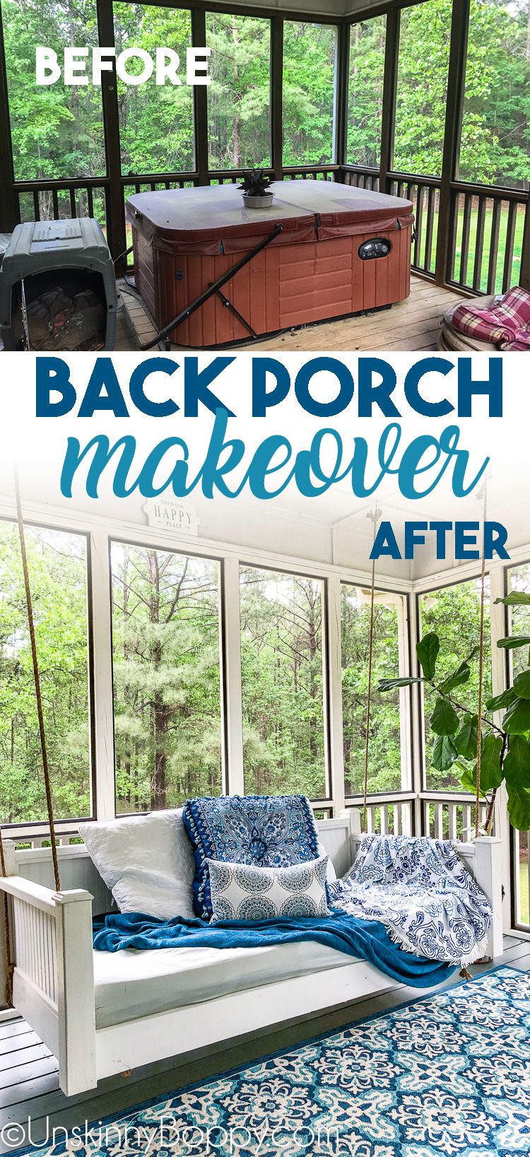 Screened In Back Porch Decorating Ideas With Swinging Day Bed Screened Porch Decorating Back Porch Makeover Porch Decorating