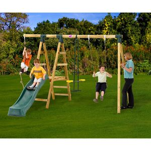 Plum Meerkat Wooden Garden Swing Set with Swing, 2 Seat Glider, Climbing Rope and Slide