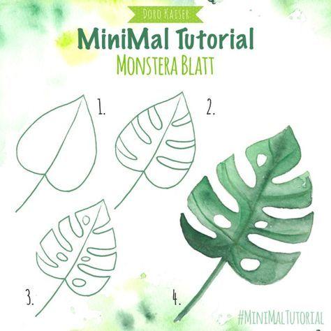 Malidee und MiniMal Tutorial: Monstera Blatt; eine kurze Anleitung, wie du mit Aquarellfarben ein Monstera-Blatt malen kannst;