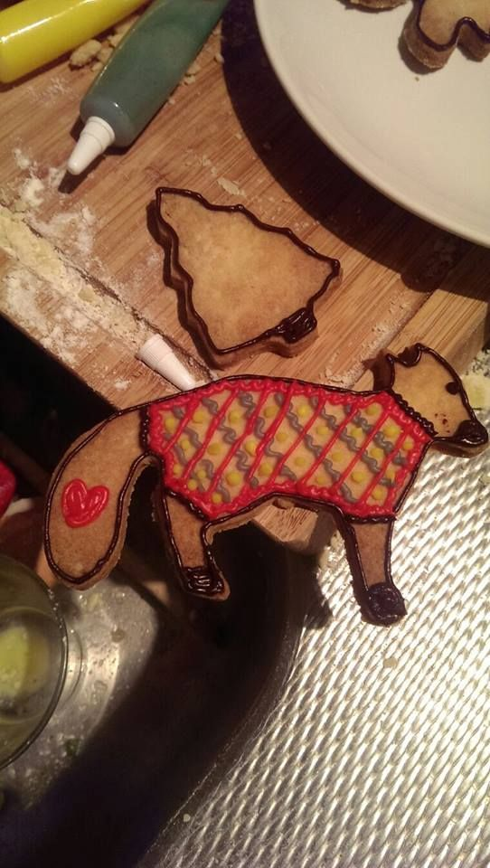 Christmas cookie. Ugly-sweater-fox.