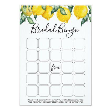 Lemons bridal bingo game invitation