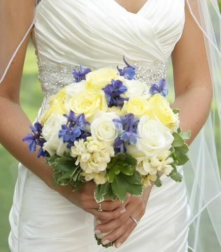 Yellow Blue Ivory Cream Wedding Bouquet And Roses With Delphinium