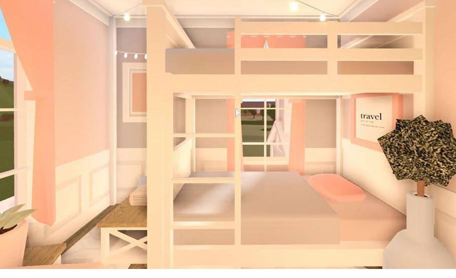 Blush Twin Bedroom Tiny House Layout Small House Design Plans Home Building Design Twin bedroom ideas bloxburg
