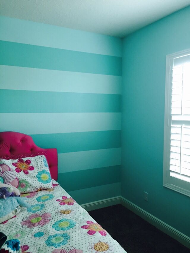 Girls Bedroom Paint Ideas Stripes sherwin william aquatint and sw tantalizing teal stripes | bella