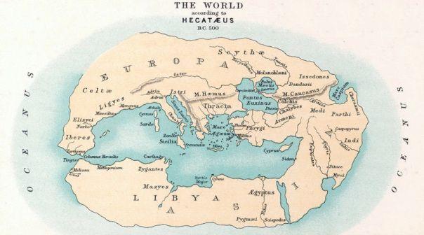 Mapa Mundi según las ideas de Hecataeus (ca 500 BC).Probablemente produjo el primer libro sobre la geografía en aproximadamente 500 AC. Considera a la Tierra como un disco plano rodeado por el océano
