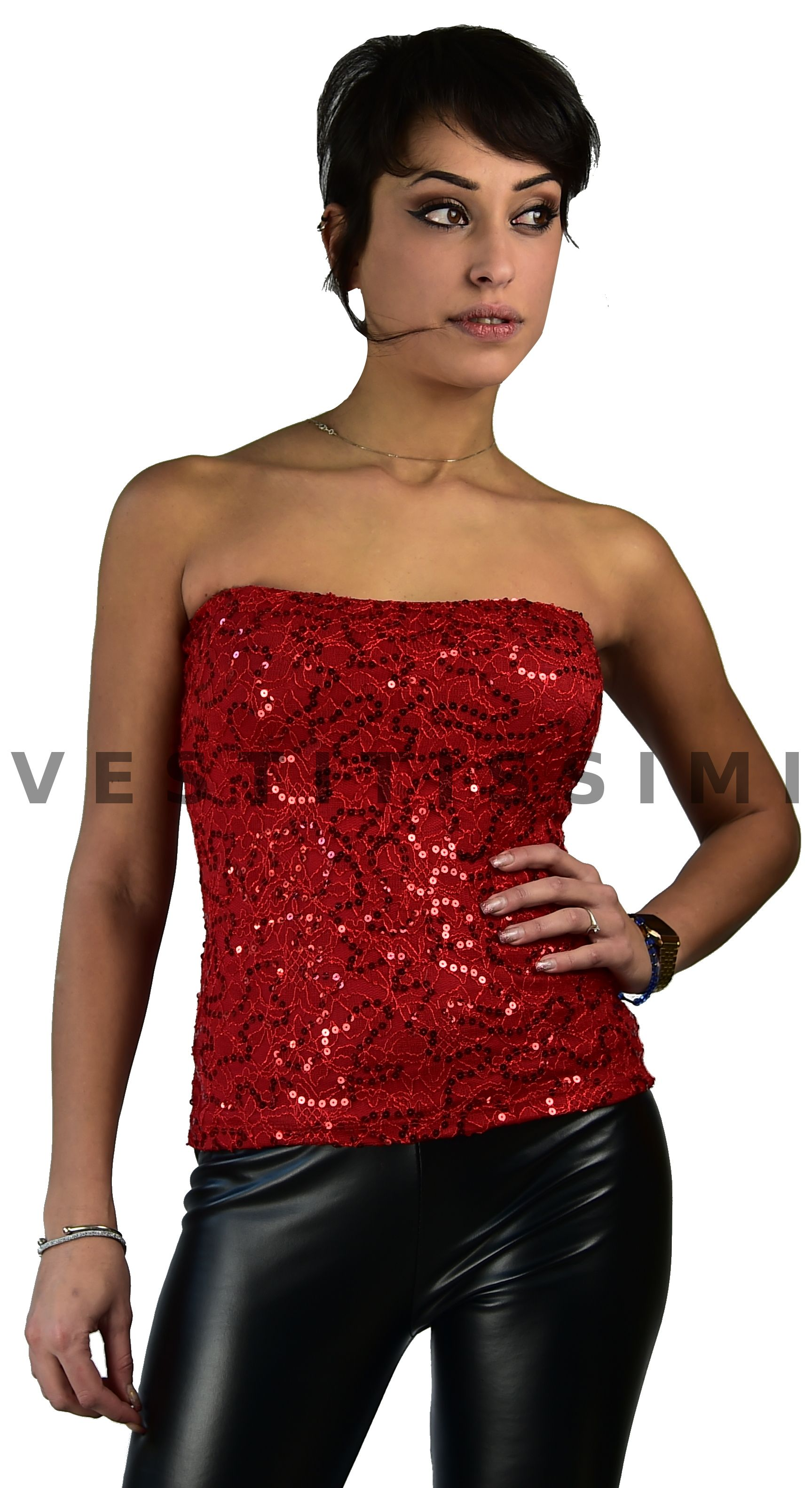 590b0e9868a3 Top donna a fascia con strass. Toppino donna corto con scollatura bandeau e  coppe aderente
