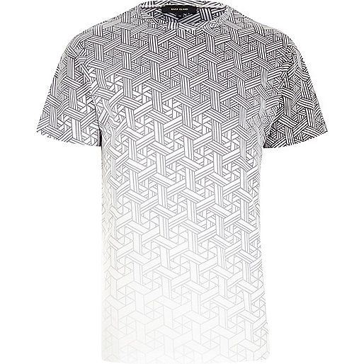 c1055e678a36 Grey faded geometric pattern t-shirt - print t-shirts - t-shirts   vests -  men