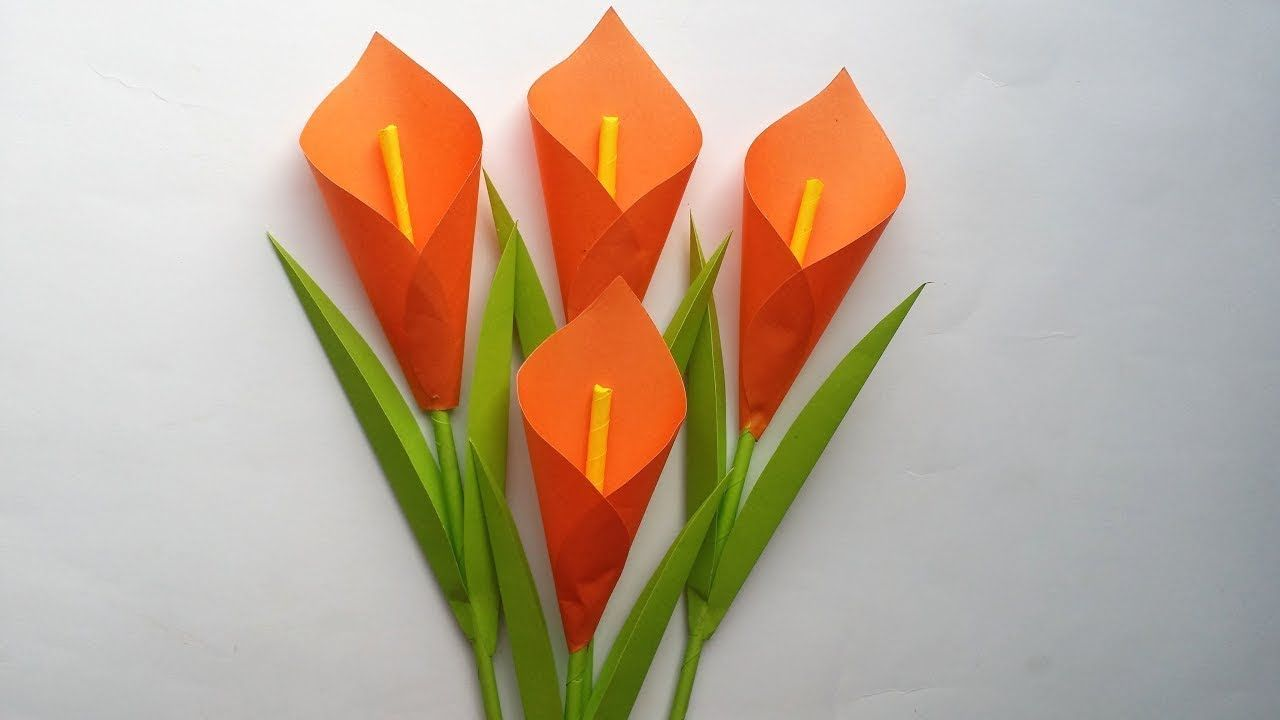 How To Make Calla Lily Paper Flower Origami Flowers Easy For Beginners Easy Origami Flower Paper Flowers Paper Crafts Diy