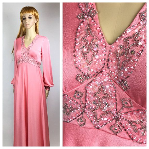 8f05cb216e 70s Maxi Dress Peach Beaded Vintage long formal pink gown ...