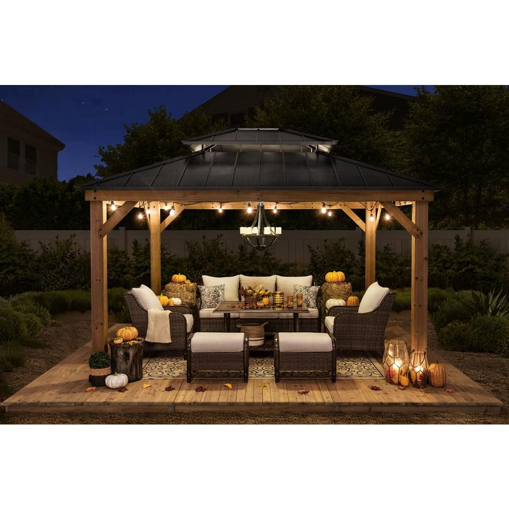 Sunjoy Archwood 12 Ft X 10 Ft Cedar Frame Gazebo With Double Tier Steel Roof Hardtop A102007500 The Home Depot In 2020 Backyard Gazebo Patio Gazebo Gazebo On Deck