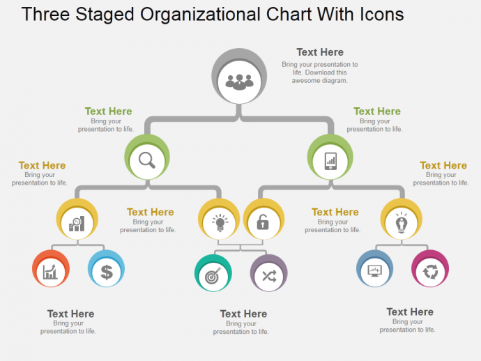three staged organizational chart with icons flat powerpoint, Powerpoint templates