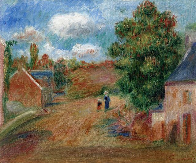 Pierre Auguste Renoir (1841-1919) - Landscape, Entrance to the Village with Woman and Child  - 1904-1908 - Private Collection
