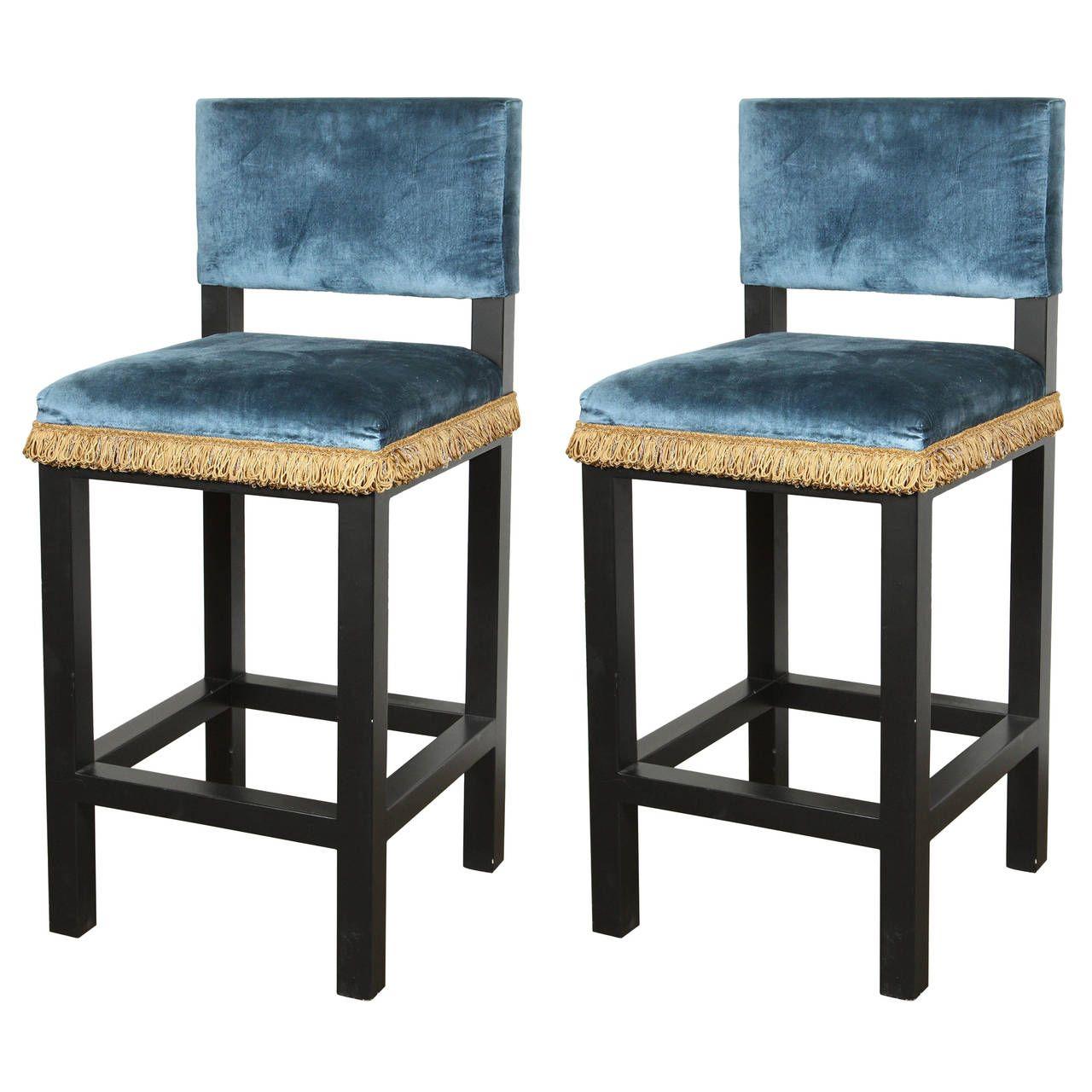Pair Of Blue Velvet French Art Deco Style Barstools French Art Deco Bar Stools Art Deco Interior