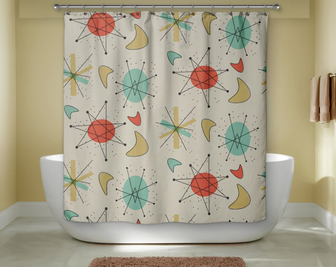 Mid Century Modern Shower Curtain Retro Bath Modern Bath