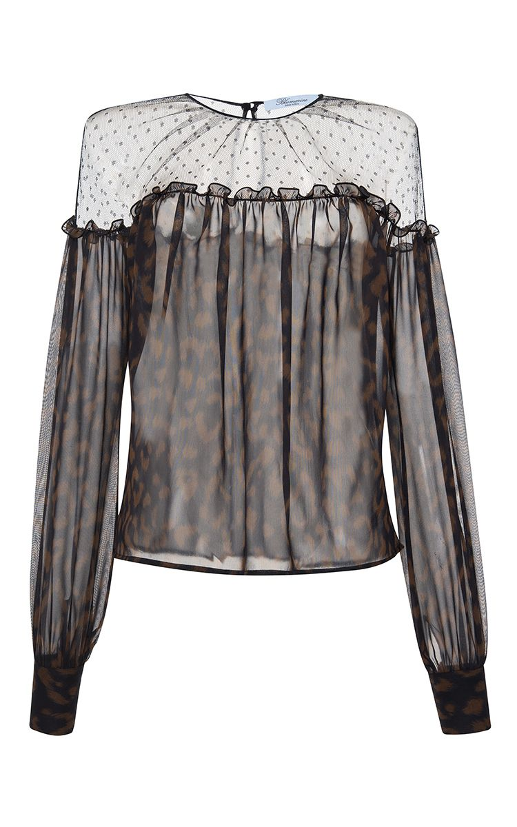 Leopard Print Blouse by BLUMARINE for Preorder on Moda Operandi