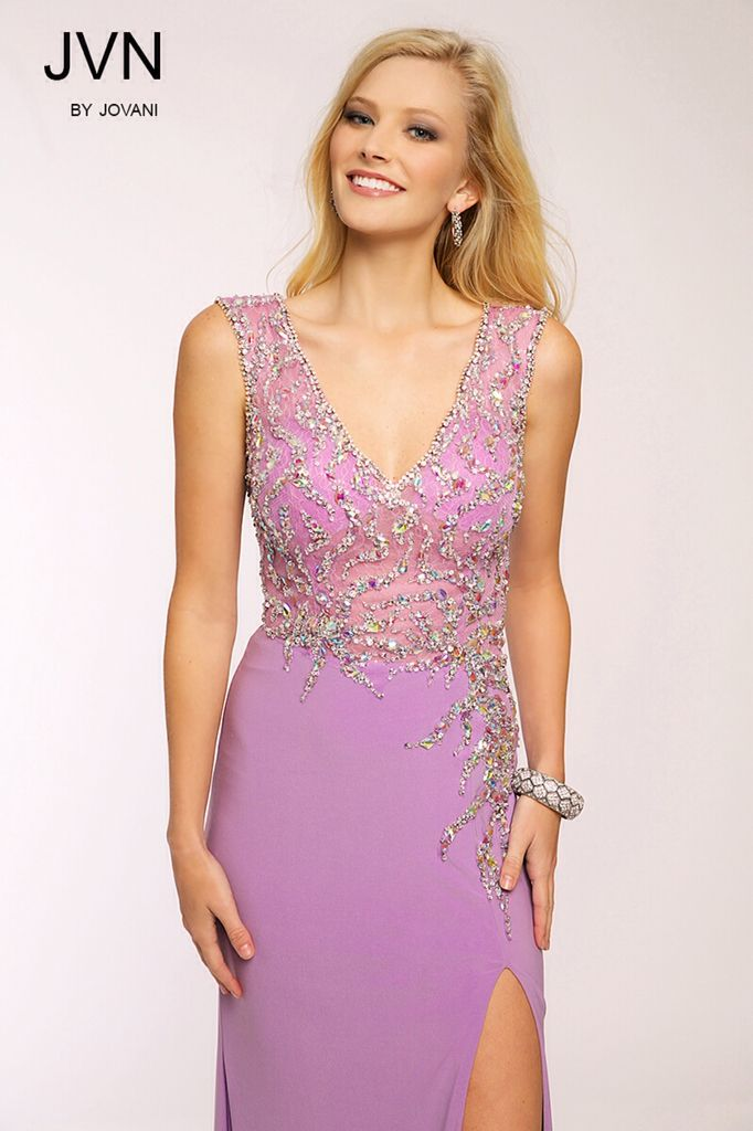 V neck beaded gown in lilac by JVN Jovani ~ mirellas.ca | Jvn by ...
