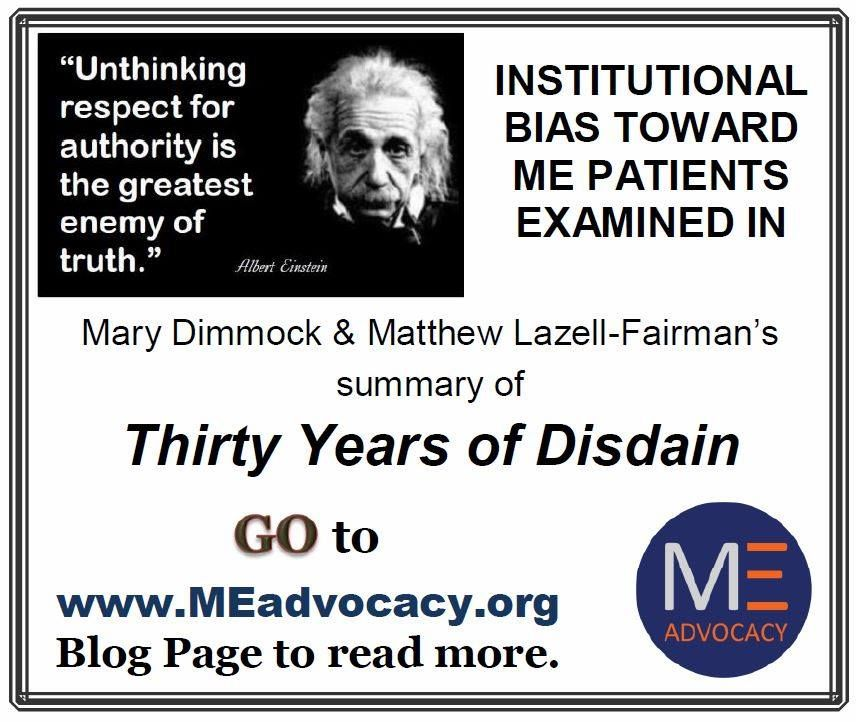 Introducing Summary of 'Thirty Years of Disdain' from @Mary Dimmock - http://www.meadvocacy.org/introducing_mary_dimmock_s_summary_thirty_years_of_disdain #MyalgicE #SevereME #MECFS #CFS