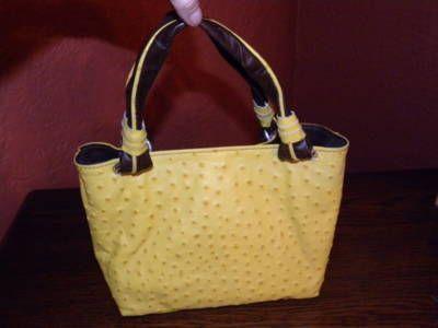 Nwot Cecconi Piero Italian Yellow Ostrich Purse Handbag