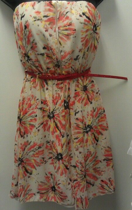 Cream Belted Strapless Dress With Orange Floral Over-Lay $34