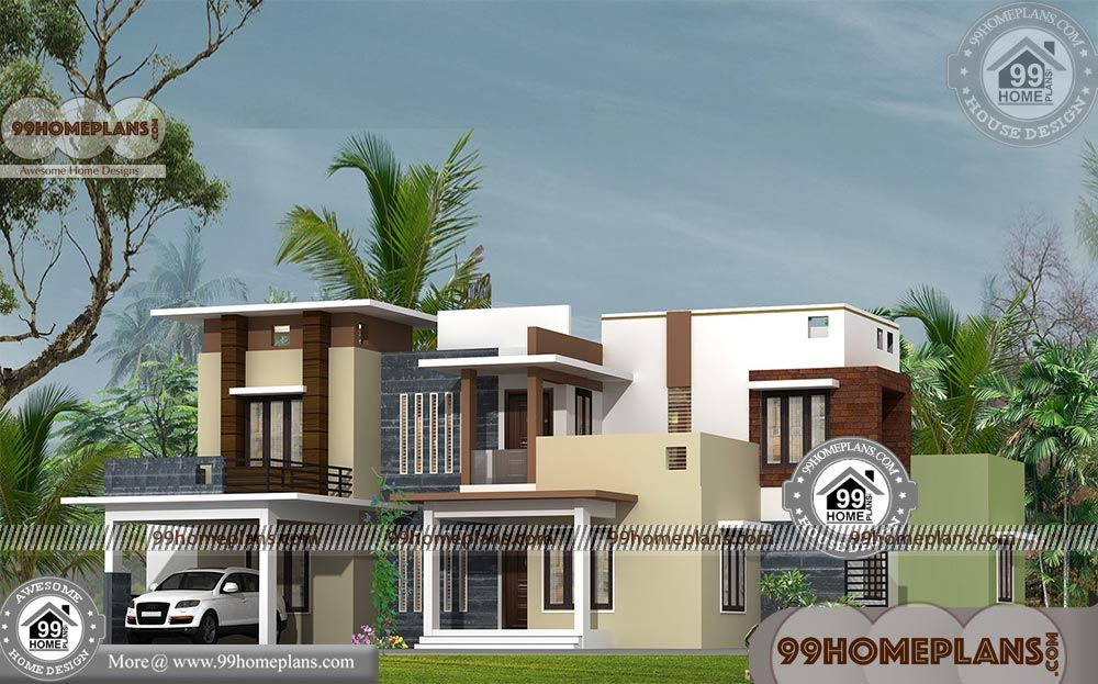 Kerala Style Modern 4 Bedroom Bungalow House With 2 Floor Around 3000 Sq Ft Home Plans A Modern Bungalow House Plans Modern Bungalow House Bungalow House Plans