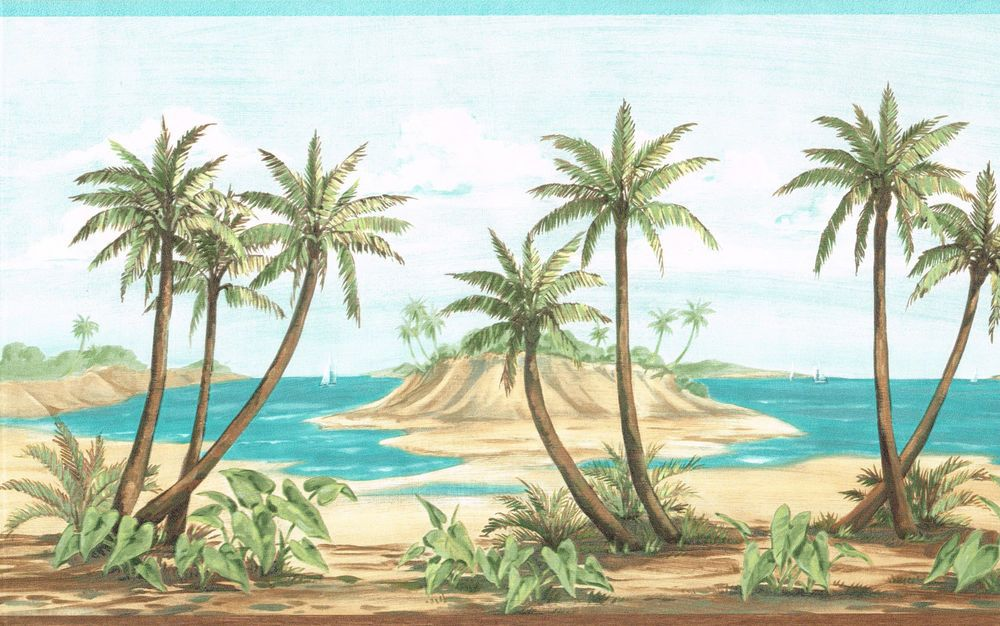 TROPICAL PALM TREES ON THE BEACH 10 1/4 inches wide