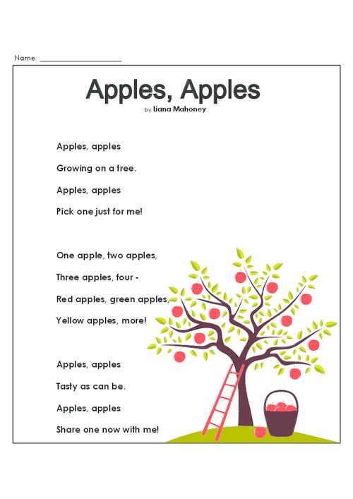 Apples – Poetry Comprehension Worksheets