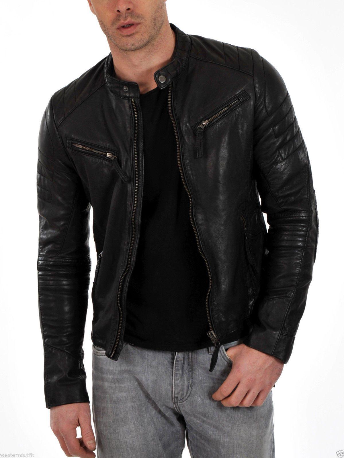 Men's Genuine Lambskin Leather Motorcycle Jacket Black