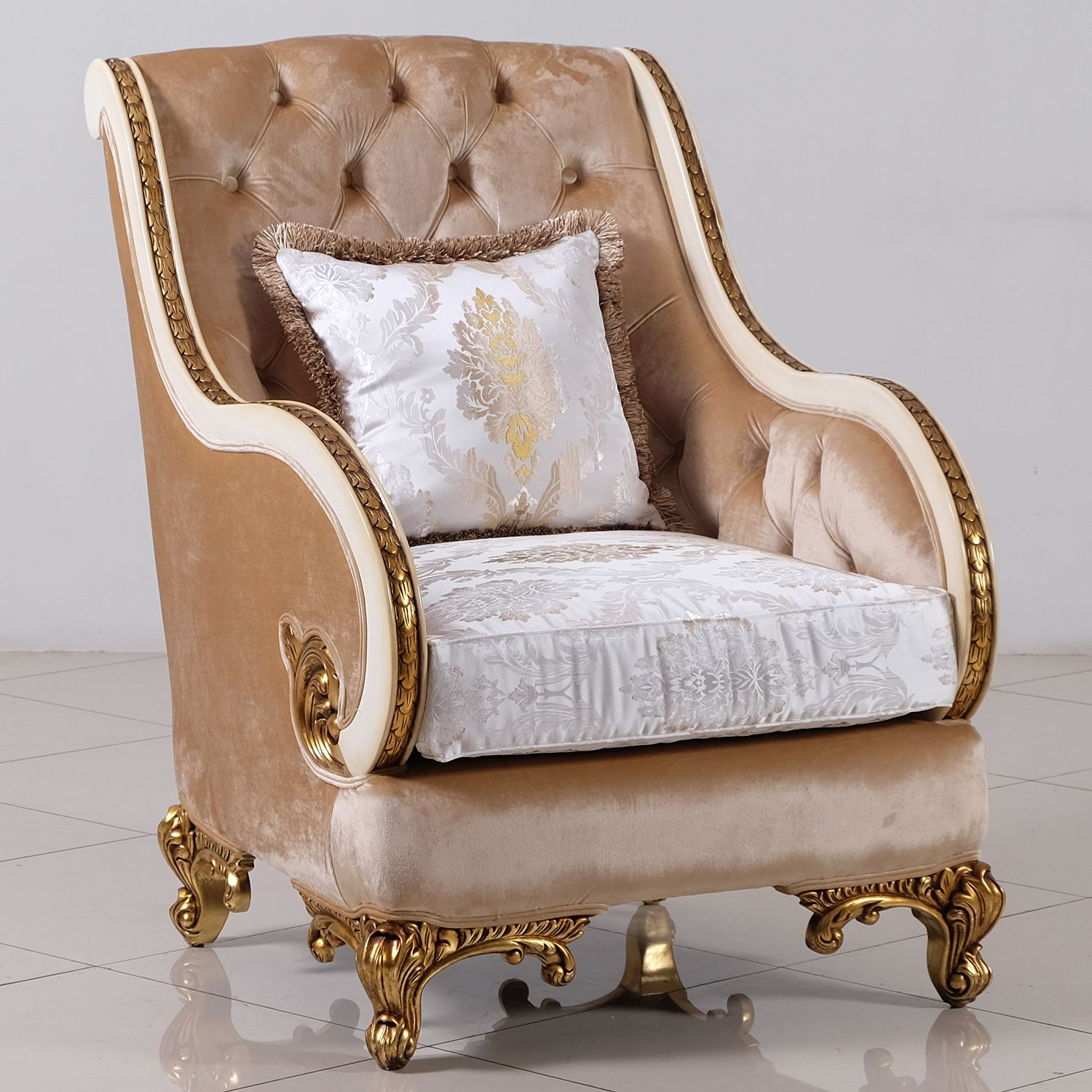 Rosabella Arm Chair in Tufted Fabric on Beige & Dark Gold
