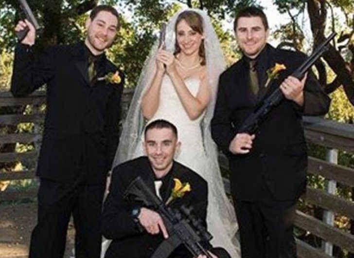 Hilarious Wedding Moments Captured | Sharedable Gun nuts. That's all I'm going to say their is nothing at all wrong with this photo. I think Tv Tropes when I see this photo.
