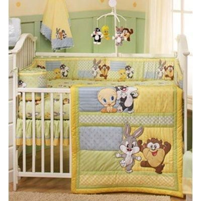 And Adorable Baby Looney Tunes Characters On This 4 Piece Crib Set Baby Looney Tunes Baby Nursery Themes Crib Bedding Boy
