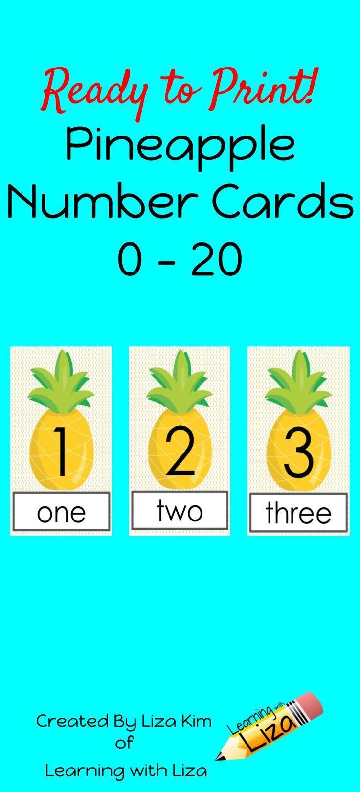 pineapple number cards 0 20 numbers preschool math activities preschool math