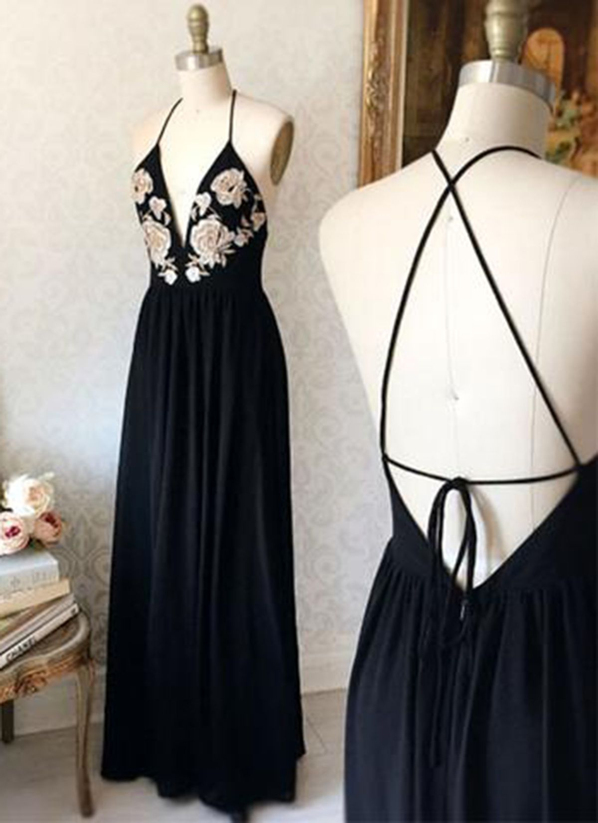 6a4c6cd0f293 New arrival black chiffon backless spaghetti straps V neck long evening  dress