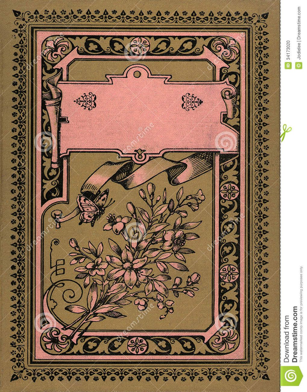 Vintage Book Cover Template : Antique book covers old brown decorative floral