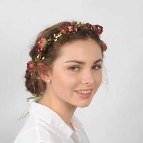 Fall Wedding Hairstyles With Flower Crown: Rustic Woodland Flower Crown, Floral Wedding Hair Piece