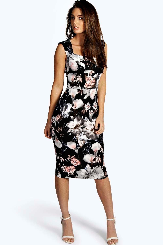 6e96b334e7a1 Ivy Floral Print Sweetheart Midi Bodycon Dress | <3 2016 Fashionable ...